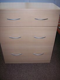 New,, chest drawers with 3 deep drawers, all drawers lined.
