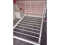 Small (4ft) white metal double bed frame