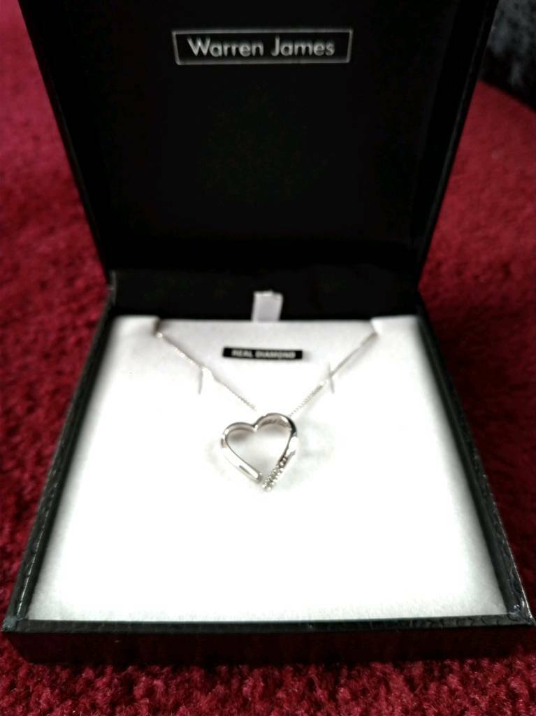 8f276b3f1d846 Warren James The Roxanna Real Sterling Silver Heart Necklace with Diamond |  in Wirral, Merseyside | Gumtree