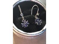 Beautiful Silver Lilac Sapphire Earrings
