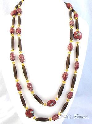 Vintage Venetian Brown, Yellow & Red ART Glass Millefiori LONG Necklace 54