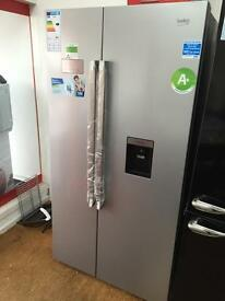 **CHRISTMAS SALE** New Graded Beko American Style Fridge Freezer With Water Dispenser - Black