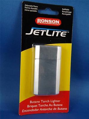 RONSON JETLITE BUTANE TORCH LIGHTER BRUSHED CHROME REFILLIBLEE CIGAR PIPE