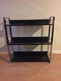 3 Tier Black and Silver Shelf Unit