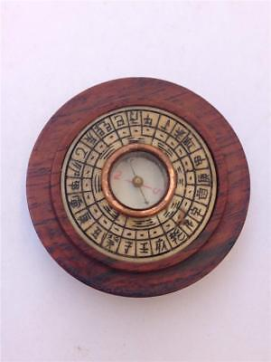Vintage Chinese Feng Shui Decorated Wood Round Compass
