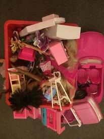 Barbie dolls and extras