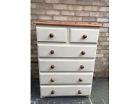 CHEST OF 6 DRAWERS PAINTED SOLID PINE FARMHOUSE COUNTRY STYLE