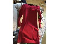 Red floor length dress, size 3 shoes, jumper dress