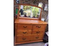 Large Rustic Pine Bow Fronted Dressing Table