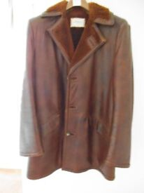 GENTS 3/4 LENGTH BROWN LEATHER COAT