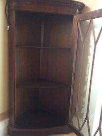Mahogany corner wall mounted cabinet