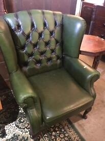 Green Chesterfield Leather Wing Chair - UK Delivery