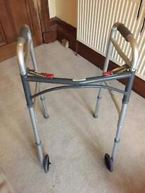 Folding adjustable mobility walker frame aid