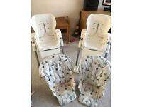 2 joie high chairs (Ned and Gilbert) £25 each