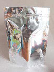Heat Sealable Aluminium Foil Stand Up Doypack Pouches Zip Lock Glossy Silver 2l
