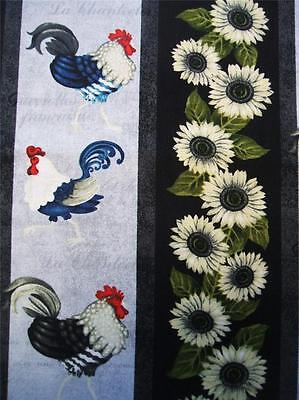 Morning Call Stripe Chicken Rooster French Country Henry Glass Fabric 24  Sale