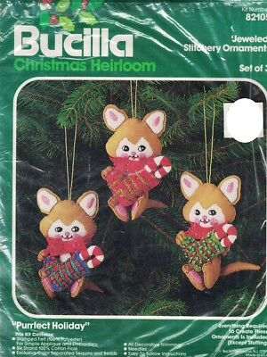 Christmas Heirloom Ornaments - Bucilla Christmas Heirloom Jeweled Stitch Ornaments Kit 82105 Purrfect Holiday