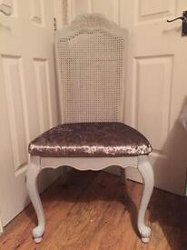 Silver crushed velvet painted grey high back shabby chic chair