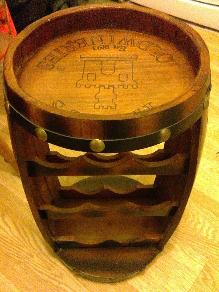 Brand New Christow Wooden Barrel Wine Rack Wood Bottle Holder