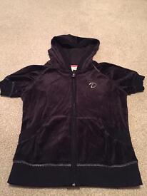Black velour zip up top size 10