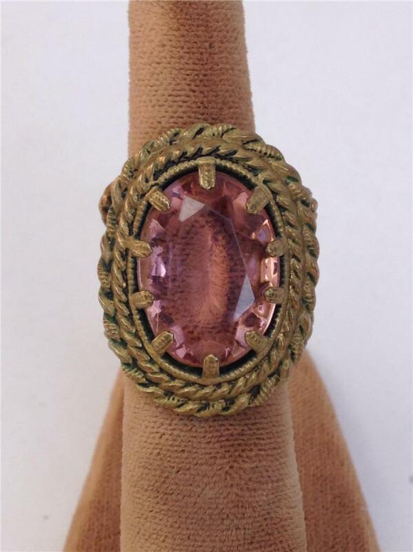 Vintage Art Deco Brass with Pink Stone Ring Size 5