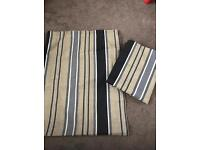 Natural/black/grey striped lined curtains