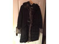 Black Morgan Hooded Fur Trim Women's Winter Coat