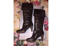 BNIB Ladies Brown High Heels Rockport Boots, real leather, size 7/41