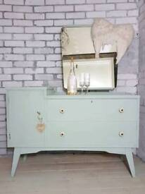 Beautiful vintage duck egg blue 2 drawer dressing table with mirror