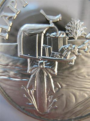 1-OZ.999 SILVER 2013 WINTER CHRISTMAS SCENE COUNTRY MAIL BOX & GIFTS COIN + GOLD
