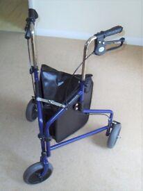 Rollator / Tri Wheel Walker with Lockable Brake - Blue. Never used! FREE bath seat too!