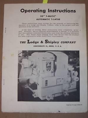 Lodge Shipley 30 T-matic T-lathe Operation Manual