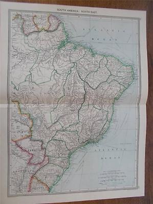 Antique c1904 Colour Map SOUTH AMERICA NORTH EAST HARMSWORTH ATLAS VGC