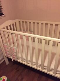 White Cot and mattress