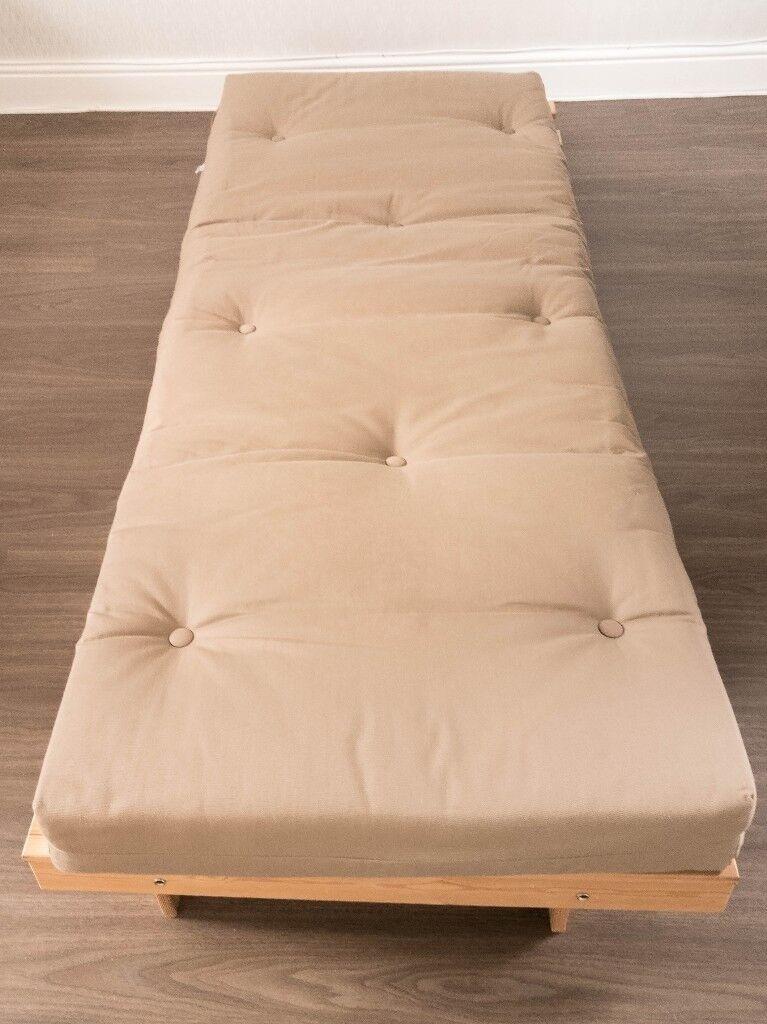 Argos Home Single Futon Sofa Bed With Mattress Light Brown Natural