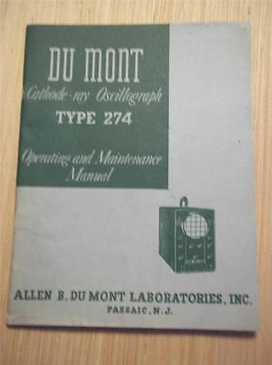 Du Mont Operatingmaintenance Manual274 Cathode-ray Oscillographservice