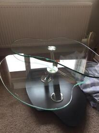 Tempered glass 2 tier coffee table