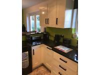 New cream high gloss kitchen cupboard doors