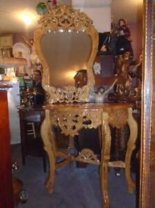 TABLE CONSOLE SCULPTÉ & MIROIR CARAMEL DORÉ