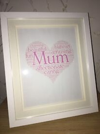PERSONALISED HEART WORDART FRAMED GIFT MOTHERS DAY