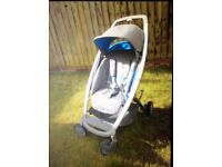 Quinny Senzz travel system (carry cot, seat and maxicosi pebble)- grey and blue