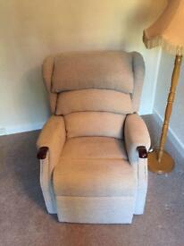 Matching riser recliner and three seater sofa.