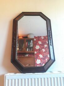 Beautiful Vintage Living Room Dark Brown Solid Oak Hanging Wall Mirror