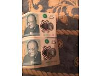 2 rare AK47 5£ notes
