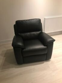 New black leather electric recliner