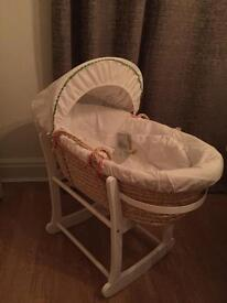 Mamas and Papas Moses basket with John Lewis rocking stand