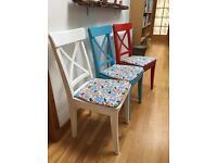 3 x Ikea ingolf chairs multi coloured
