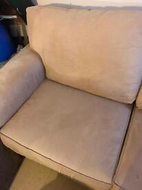 Suede cream 2 seater sofa good condition