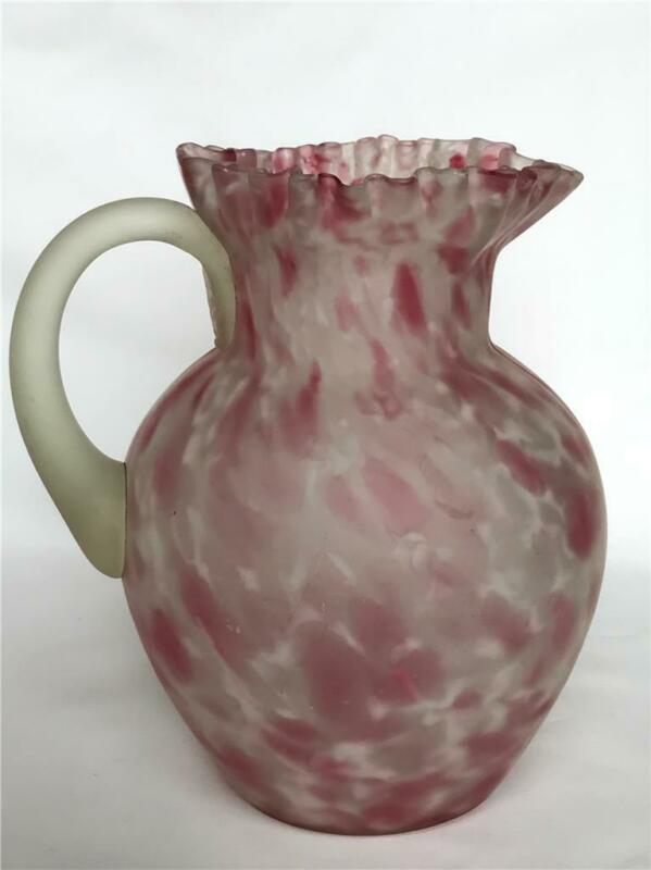 "Antique Victorian Pink Spatter Satin Glass 9"" Water Pitcher Mold Blown"