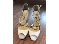 Jimmy Choo Wedding Bridal Ivory Champagne Satin Shoes 6 39 Heels